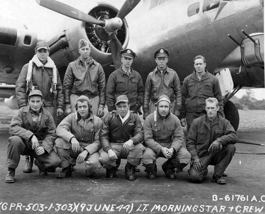 2Lt Thomas H. Morningstar and crew of the 303rd Bomb Group. England, 09 June 1944.