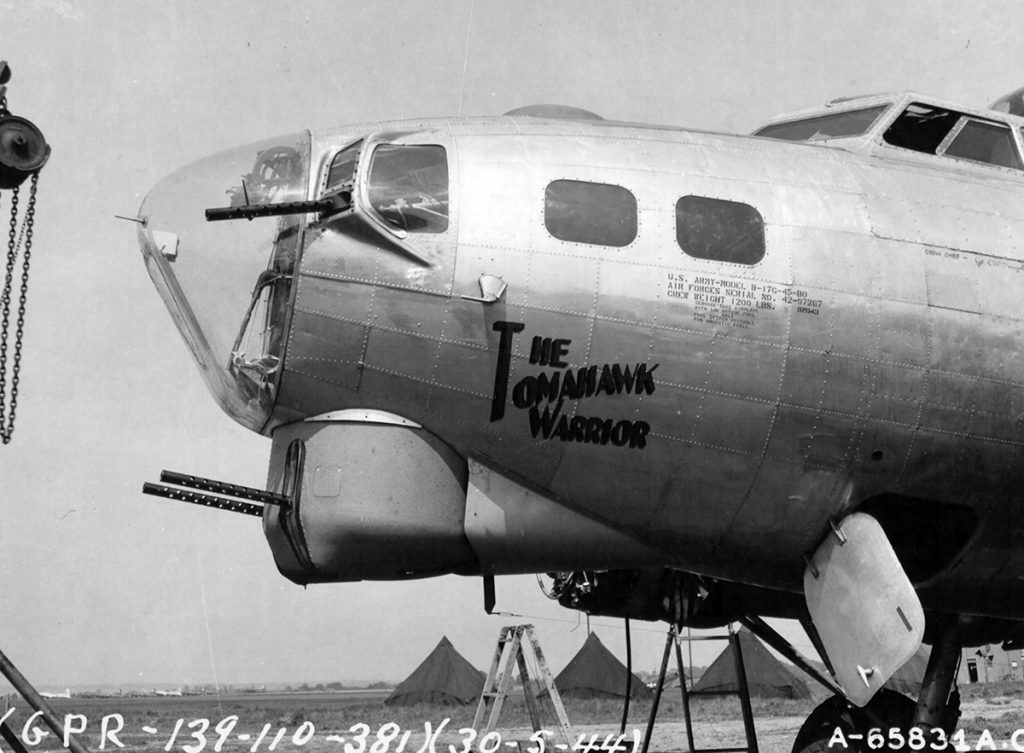 B-1G #42-97267 'The Tomahawk Warrior' Noseart