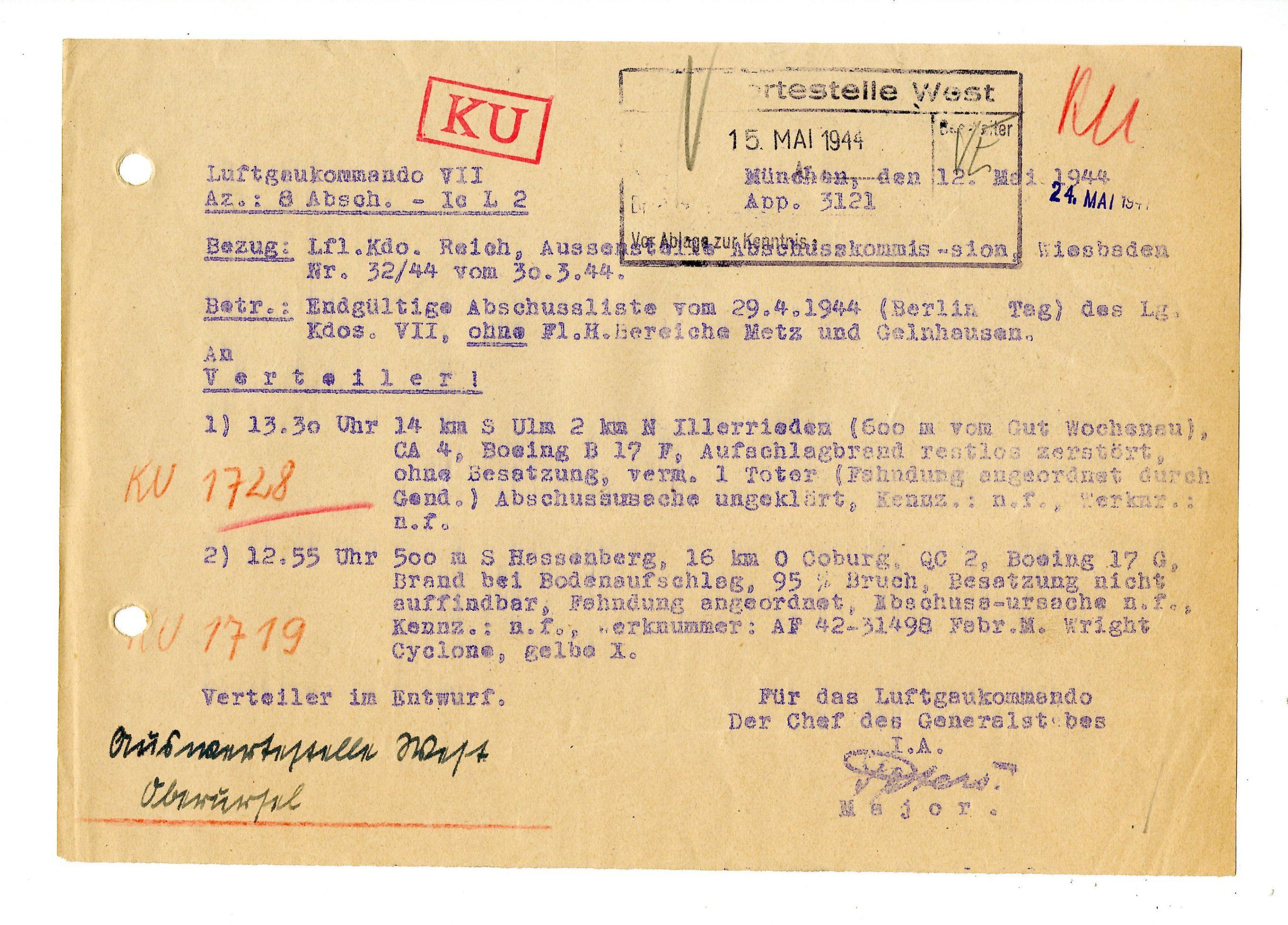 B-17F bei Illerrieden (Ulm) am 29.04.1944